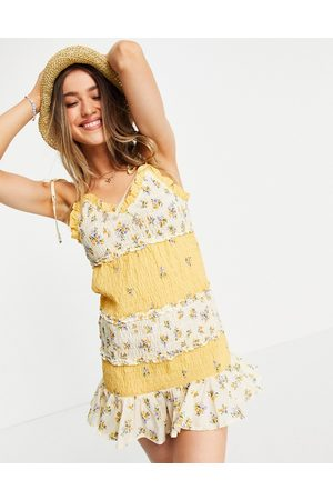 ASOS Shirred mini sundress in mixed ditsy floral print-Multi
