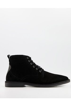 ASOS Desert boots in black suede with leather detail