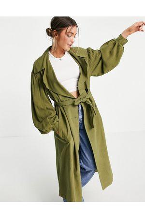 ASOS Ženy Trenčkoty - Oversized linen trench coat with sleeve detail in khaki-Green