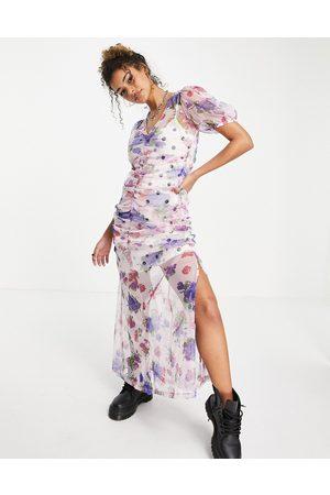 ASOS Maxi dress with ruching detail in mix print-Black
