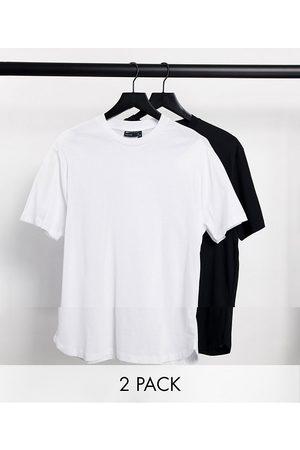ASOS 2 pk t-shirt with curved hem-Multi