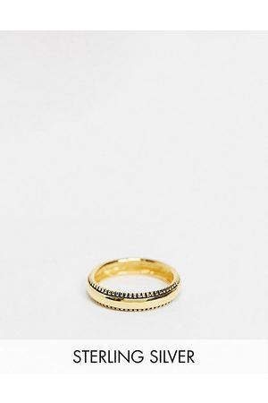 ASOS Sterling silver band ring in texture edge in gold