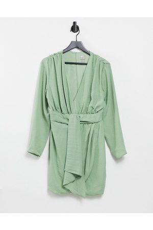 ASOS Ženy Na párty - Plunge mini dress with wrap drape skirt-Green