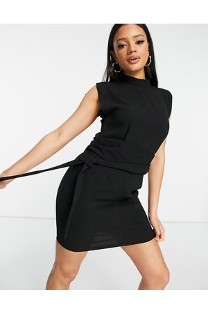 ASOS Ženy Na párty - Split sleeve mini dress with obi belt in black