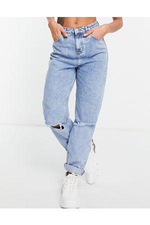 ASOS Ženy S vysokým pasem - High rise 'original' mom jeans in lightwash with rips-Blue