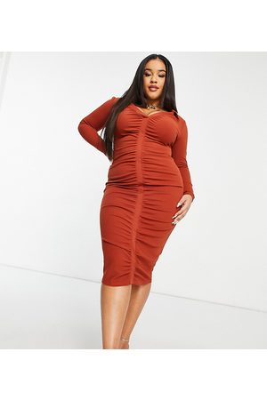 ASOS ASOS DESIGN Curve shirt ruched front midi dress in rust-Brown