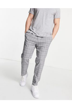 River Island Pleated trouser in check-Grey