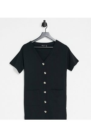 ASOS Petite ASOS DESIGN Petite button through t-shirt dress in black
