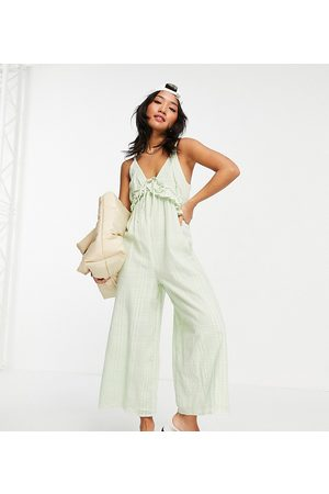 ASOS ASOS DESIGN petite v neck frill tie culotte jumpsuit in duck egg blue