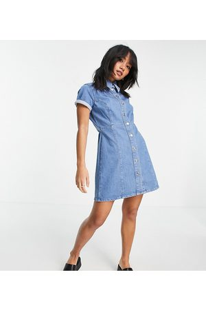 ASOS ASOS DESIGN Petite denim fitted shirt dress in midwash-Blue