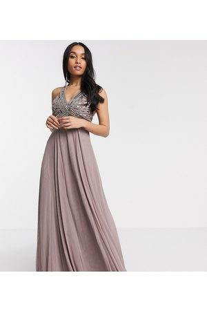 ASOS Petite ASOS DESIGN Petite linear embellished bodice maxi dress with tulle skirt in dusty purple-Blue