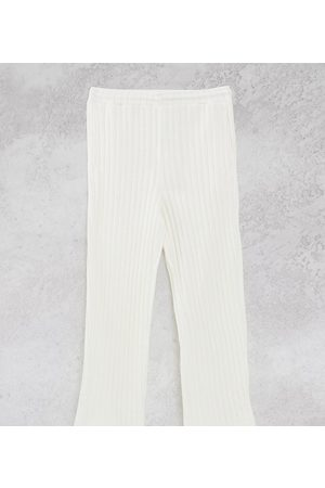 Collusion Tepláky - Unisex chunky jersey knit wide leg joggers in ecru co-ord-White
