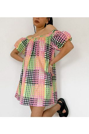 COLLUSION Off the shoulder sundress in gingham check-Multi