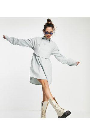 COLLUSION Corset mini shirt dress in light blue