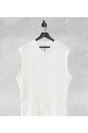 COLLUSION Unisex chunky jersey rib knit vest in ecru co-ord-White