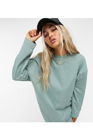 COLLUSION Long sleeve mini t-shirt dress in pale green