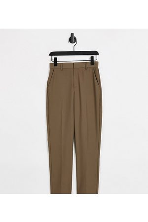 COLLUSION Slim tailored trousers in brown