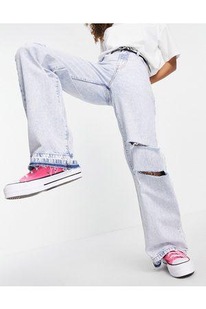 Bershka 90s wide leg jean with rips in bleach blue wash