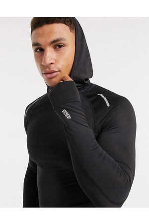 ASOS Icon muscle running long sleeve t-shirt with hood-Black