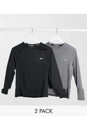 ASOS Icon muscle training long sleeve t-shirt with quick dry 2 pack SAVE-Black