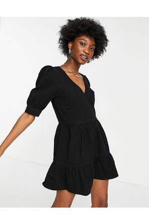Miss Selfridge Denim tierred dress in black