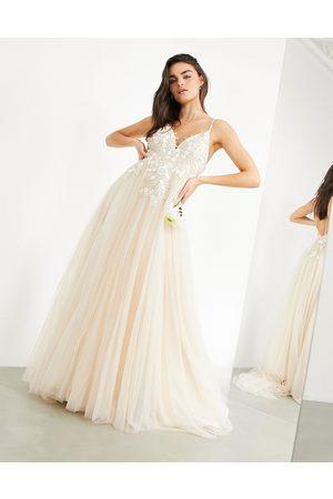 ASOS Ženy Na párty - Francesca plunge wedding dress with tonal embroidery-White