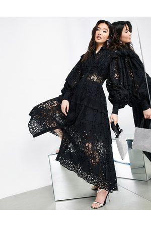 ASOS Broderie shirt dress in black