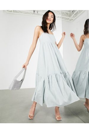 ASOS Linen tiered cami dress with scallop hem in ice blue