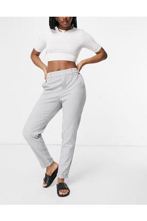 Vero Moda Ženy Rovné nohavice - Straight leg trousers with elasticated waist in light grey