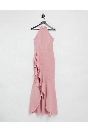 Lipsy London Halterneck ruffle dress in pink
