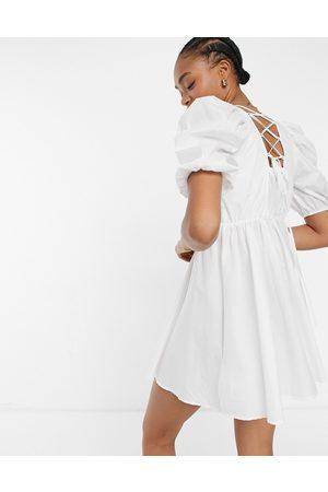 Y.A.S Ženy Volnočasové - . strap detail mini smock dress in white