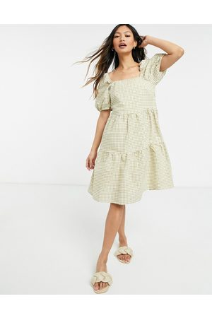 Y.A.S . gingham puff sleeve mini smock dress in sage-Neutral