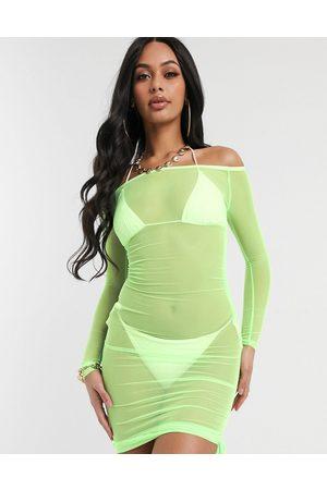 South Beach Ženy Přiléhavé - Off The Shoulder Bodycon Dress-Green