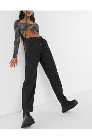 Noisy May Balloon leg jeans in washed black