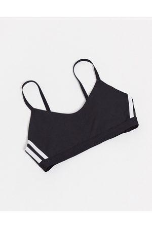 adidas Adidas Training three stripe strappy bra in black