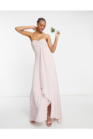 TFNC Bridesmaid pleat wrap front bandeau ruffle hem maxi dress with thigh split in mink-Pink