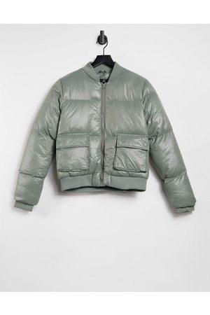 Threadbare Lacy high shine bomber coat-Green