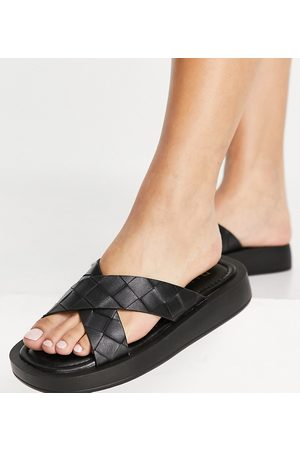 Raid Wide Fit Andina plaited chunky slide sandals in black