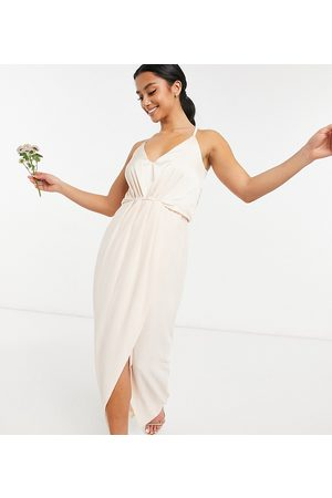 TFNC Bridesmaid satin halter neck top maxi dress in light blush-White