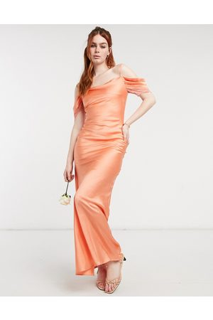 HOPE & IVY Bridesmaid cold shoulder satin slip midaxi dress in peach-Pink
