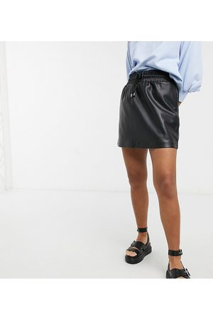 Topshop Draw string faux leather mini skirt in black