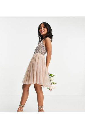 Maya Bridesmaid halterneck mini tulle dress with tonal delicate sequin in taupe blush-Pink