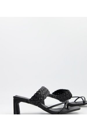 Glamorous Wide Fit Heeled sandals with woven detail in black