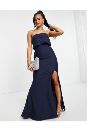 Jarlo Bandeau overlay maxi dress with thigh split in navy