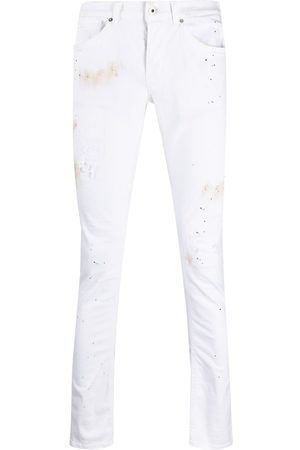 Dondup Painterly-print slim-fit trousers