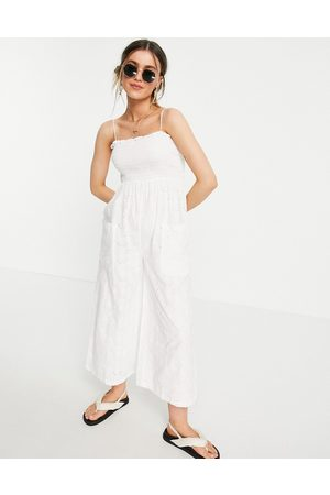 ASOS Shirred cami broderie culotte jumpsuit in white