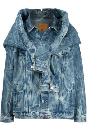 MARTINE ROSE Hybrid acid-wash denim jacket