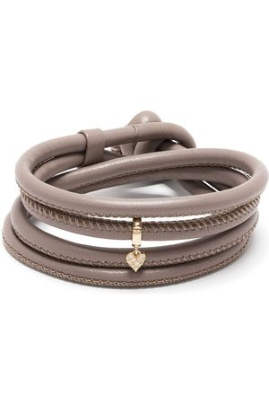 Mizuki 14kt yellow gold diamond heart charm leather bracelet