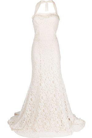 Parlor Floral-lace halterneck gown