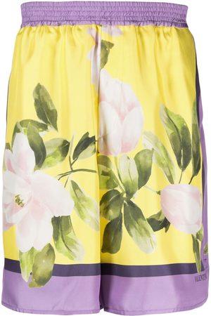 VALENTINO Floral-print silk shorts